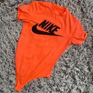 Nike reworked neon orange bodysuit Sz S